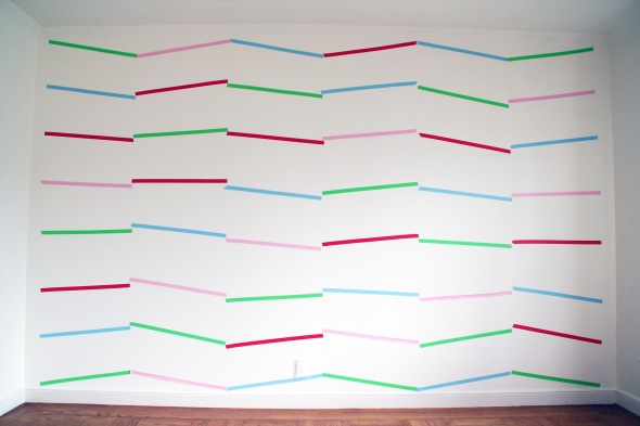 "Al Wong, ""Color Panel,"" © 2015, 8'H x 12'W (size variable dependent on location), color masking tape."