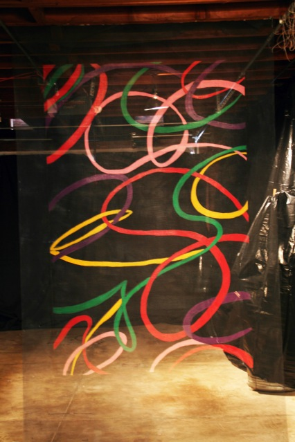 "Al Wong, ""Twist,"" ©2012, 8'H x 5'W, Acrylic on fiberglass netting."