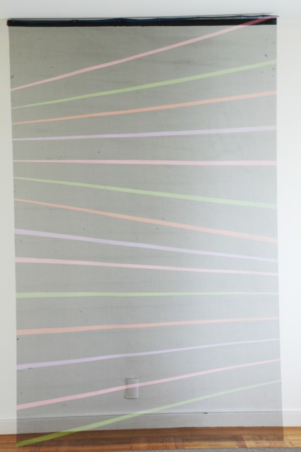 "Al Wong, ""Color Bar"" ©2013, 8'H x 5'W, Acrylic on fiberglass netting (view 2)"