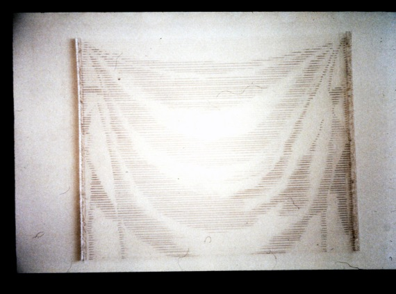 "Al Wong, ""Drape,"" © 2002, 4'H x 5'W, cotton string and acrylic."