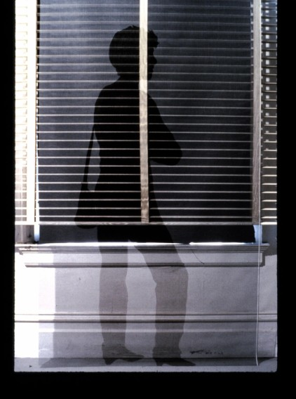 "Al Wong, ""Blind Waiting,"" ©1985, 8'H x 4'W, Acrylic on fiberglass netting with venetian blinds."